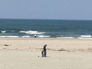 西浜海岸で散歩の親子