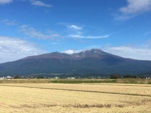 稲刈り後の田んぼと鳥海山